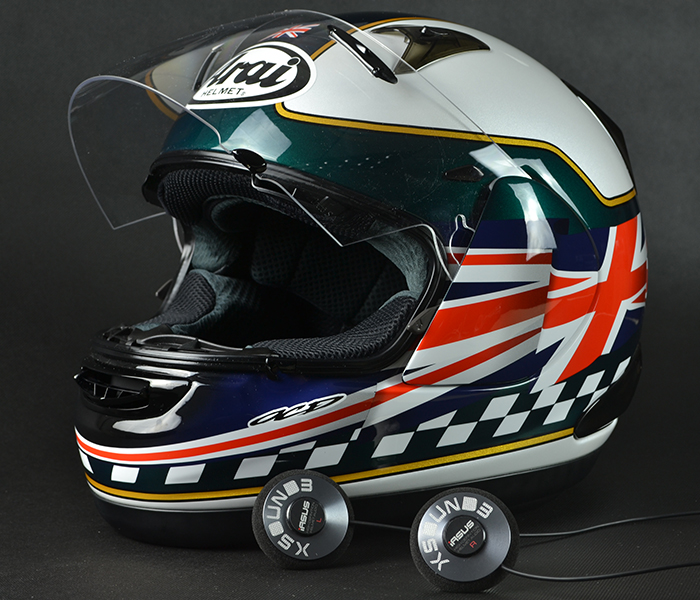 Arai helmet with iASUS helmet speakers