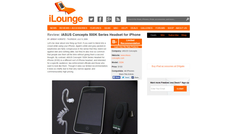 PRESS RELEASE: 500K Headset on iLounge