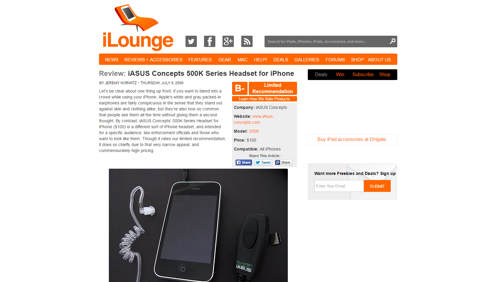 500K Headset on iLounge