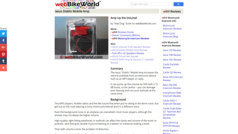 PRESS RELEASE: Feature on webBIKEWORLD