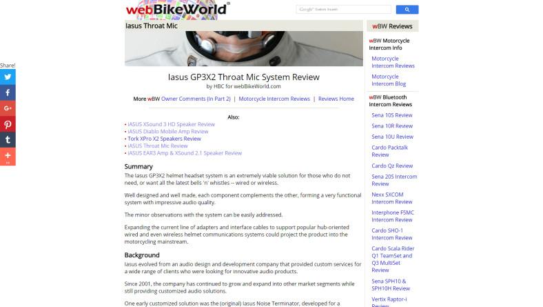 PRESS RELEASE: Feature on webBIKEWORLD.com